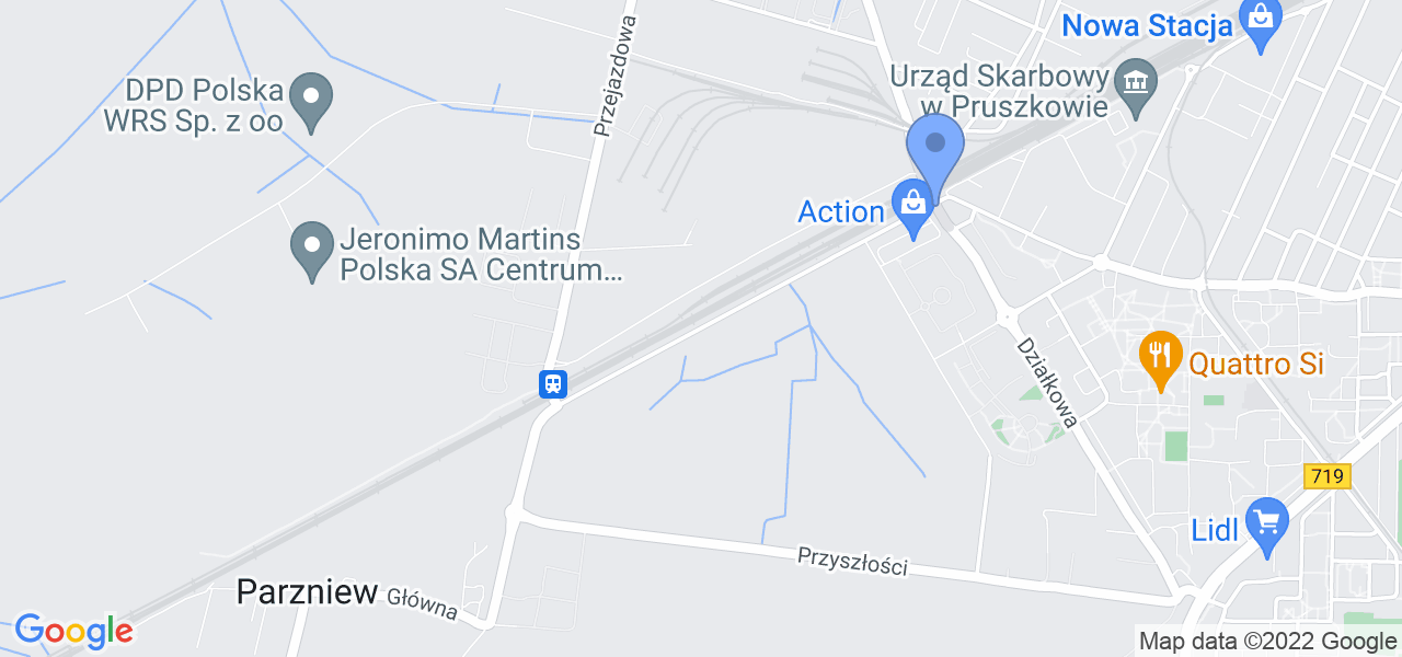Jedna z ulic w Pruszkowie – Solidarności i mapa dostępnych punktów wysyłki uszkodzonej turbiny do autoryzowanego serwisu regeneracji