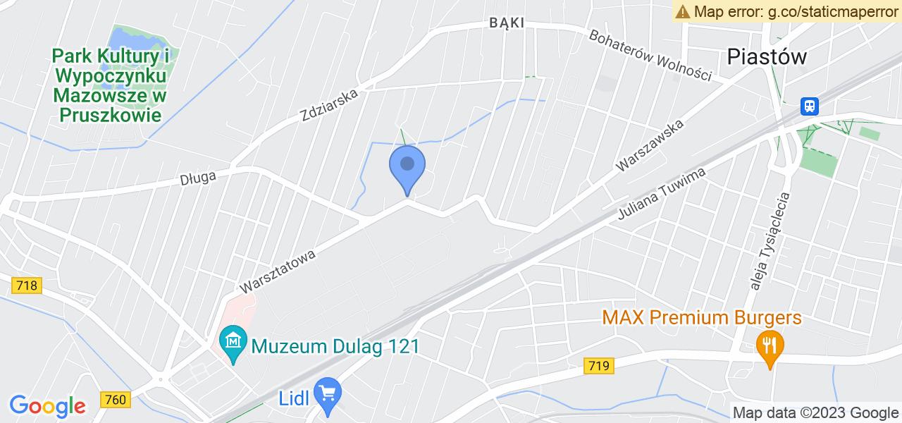 Jedna z ulic w Pruszkowie – Władysława Broniewskiego i mapa dostępnych punktów wysyłki uszkodzonej turbiny do autoryzowanego serwisu regeneracji