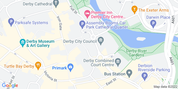 Static map of QUAD Market Place, Cathedral Quarter, DERBY Derbyshire DE1 3AS, provided by Google