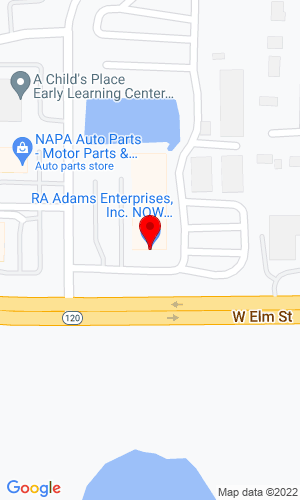 Google Map of RA Adams  2600 W Route 120, McHenry, IL, 60051,