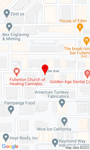 Google Map of RH Services 1130 E Elm Avenue, Fullerton, CA, 92831