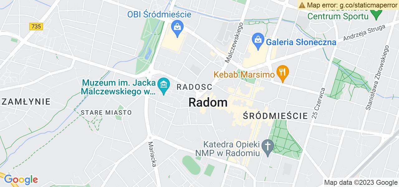 Jedna z ulic w Radomiu – 11 Listopada i mapa dostępnych punktów wysyłki uszkodzonej turbiny do autoryzowanego serwisu regeneracji