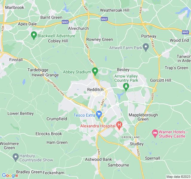 Website Designer Redditch Google map of location