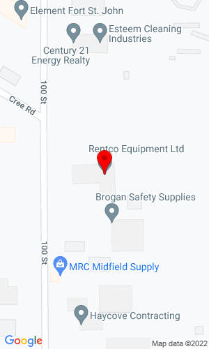 Google Map of Rentco Equipment Ltd. 8705 100 Street , Fort St. John, BC, V1J 3W7