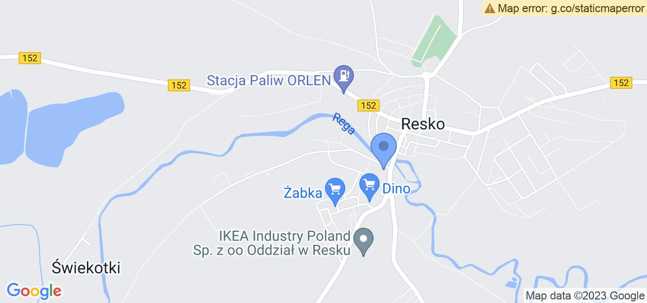 Jedna z ulic w Resku – Wolności i mapa dostępnych punktów wysyłki uszkodzonej turbiny do autoryzowanego serwisu regeneracji
