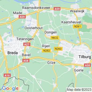 Werkgebied van onze bestrijder in Rijen