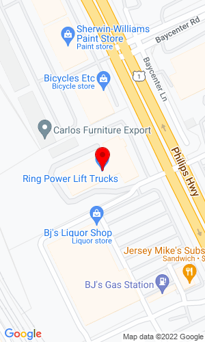 Google Map of Ring Power Lift Trucks 8040 Phillips Highway, Jacksonville, FL, 32256