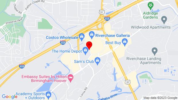 Google Map of Riverchase Galleria, Hoover , AL 35244