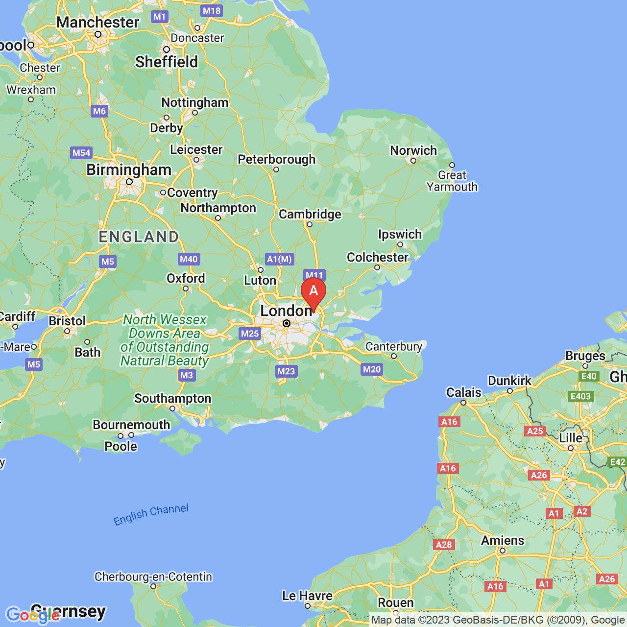 Romford, England Map