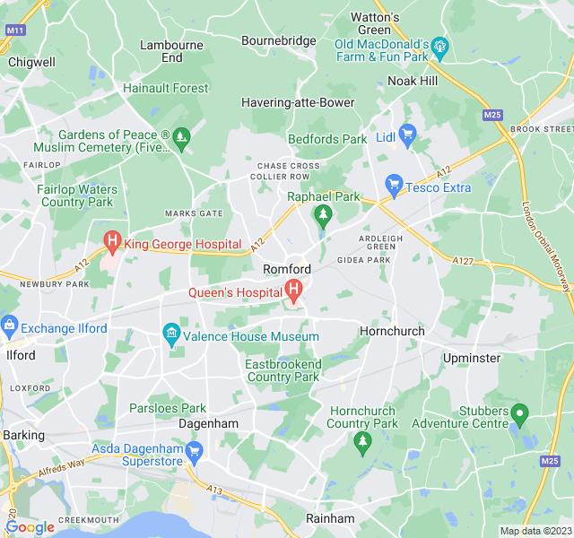 Website Designer Romford Google map of location