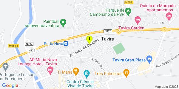 Google Map of Rual Alvaro de Campos Nº70 Tavira 8800-320 Tavira