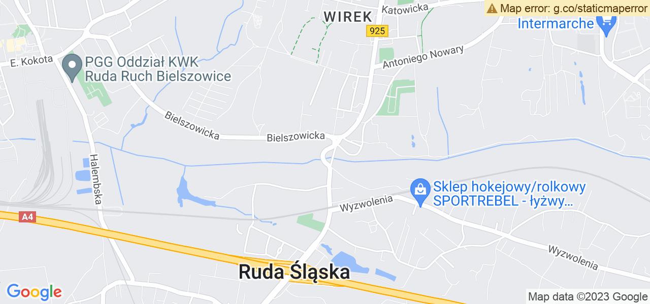Jedna z ulic w Rudzie Śląskiej – 1 Maja i mapa dostępnych punktów wysyłki uszkodzonej turbiny do autoryzowanego serwisu regeneracji
