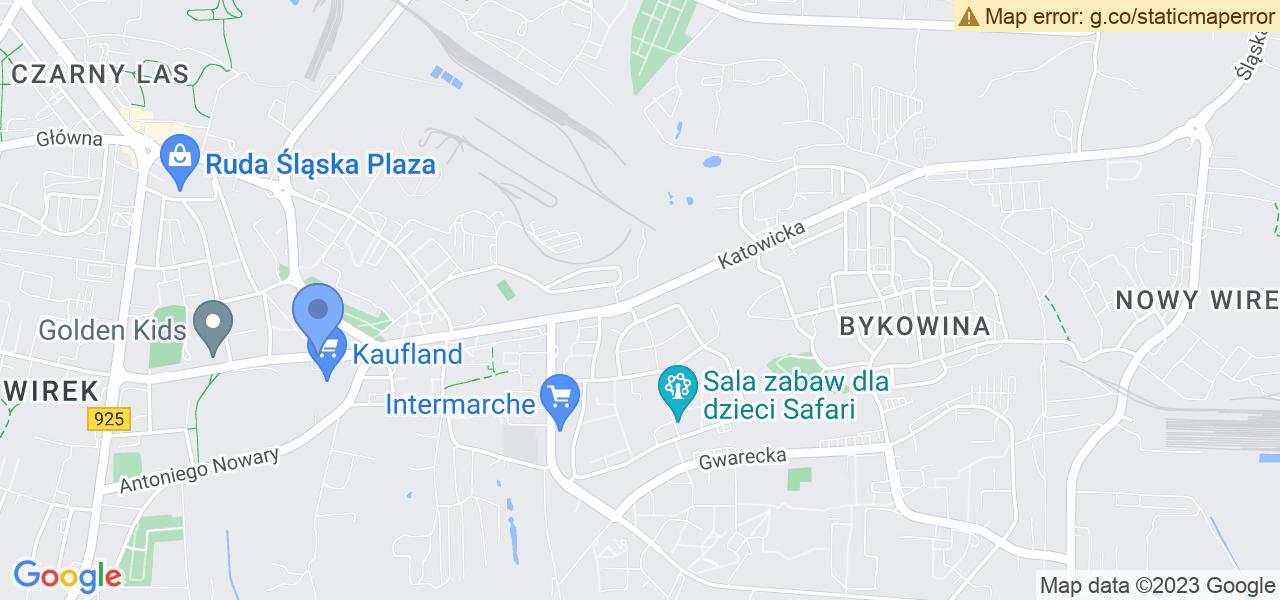 Jedna z ulic w Rudzie Śląskiej – Katowicka i mapa dostępnych punktów wysyłki uszkodzonej turbiny do autoryzowanego serwisu regeneracji