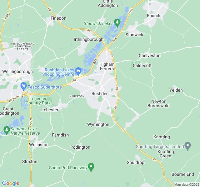 Website Designer Rushden Google map of location