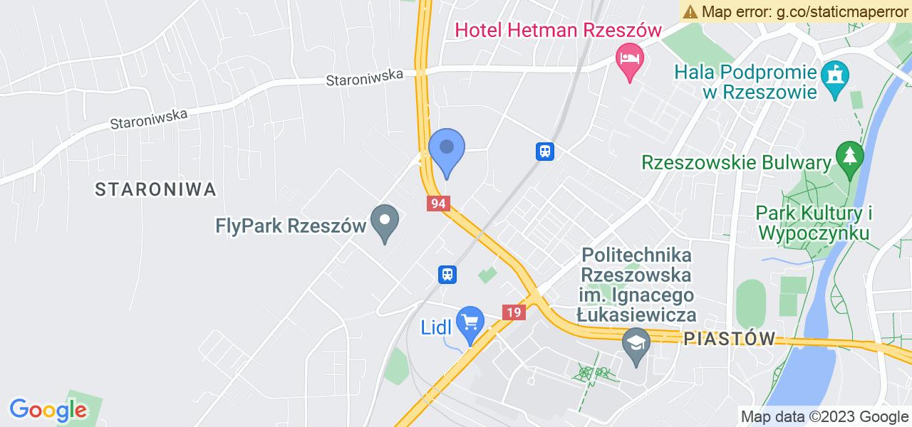 Jedna z ulic w Rzeszowie – Aleja Batalionów Chłopskich i mapa dostępnych punktów wysyłki uszkodzonej turbiny do autoryzowanego serwisu regeneracji