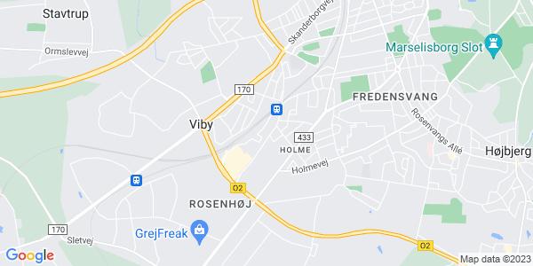 Et kort over Erhvervsakademi Aarhus