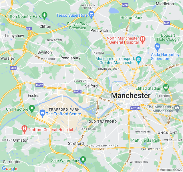 Website Designer Salford Google map of location