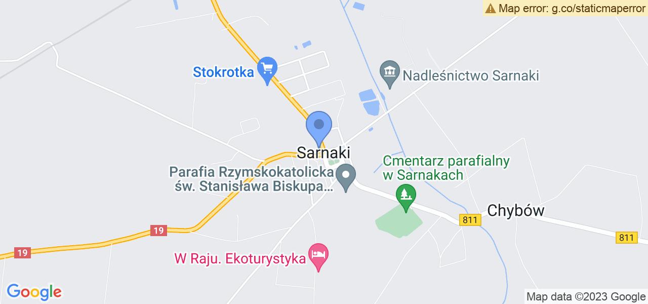 Jedna z ulic w Sarnakach – Kolejowa i mapa dostępnych punktów wysyłki uszkodzonej turbiny do autoryzowanego serwisu regeneracji