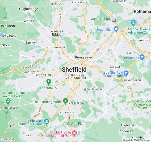 Website Designer Sheffield Google map of location