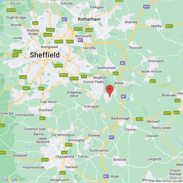 Map of Sheffield Motorhomes