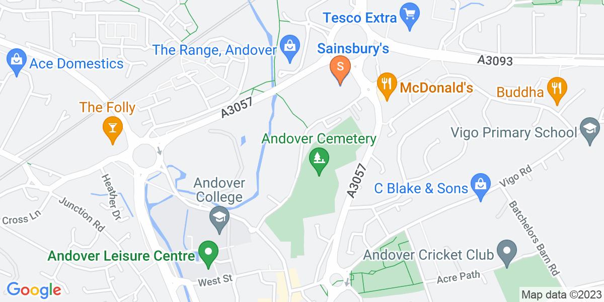 Google Map of Shepherds Spring Lane Andover SP10 1DL