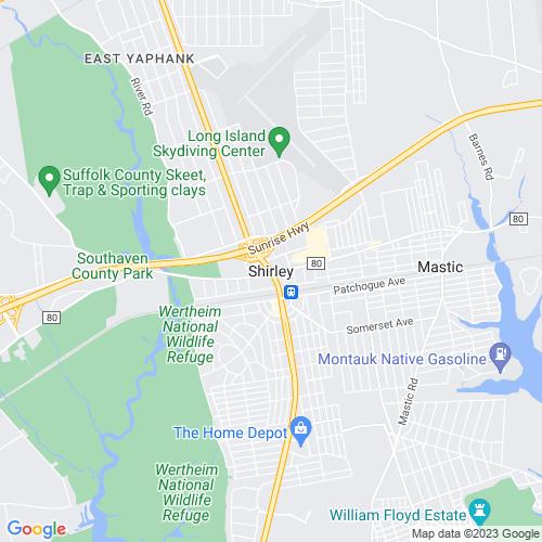 Map of Shirley, NY