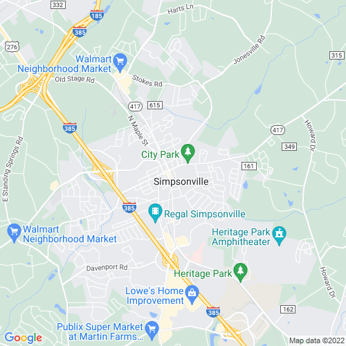 Map of Simpsonville, SC