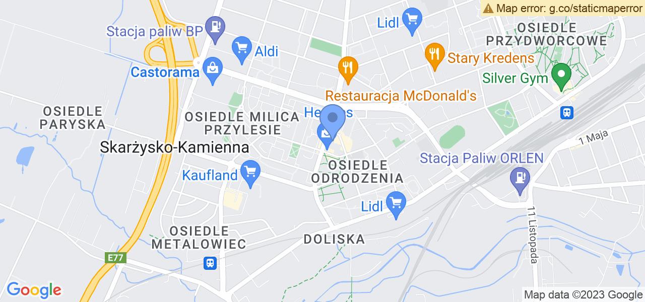 Jedna z ulic w Skarżysku-Kamiennej – Krasińskiego i mapa dostępnych punktów wysyłki uszkodzonej turbiny do autoryzowanego serwisu regeneracji