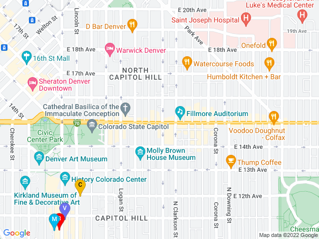 Google Map of Soco Nightlife District, Co