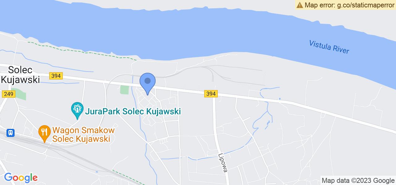 Jedna z ulic w Solcu Kujawskim – Toruńska i mapa dostępnych punktów wysyłki uszkodzonej turbiny do autoryzowanego serwisu regeneracji