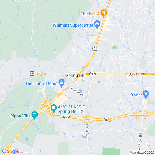 Map of Spring Hill, TN