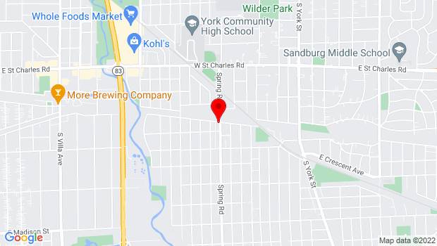 Google Map of Spring Rd and the Prairie Path, Elmhurst, IL 60126