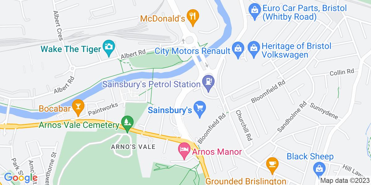 Google Map of St. Philips CausewayArnos Vale Bristol BS4 3BD