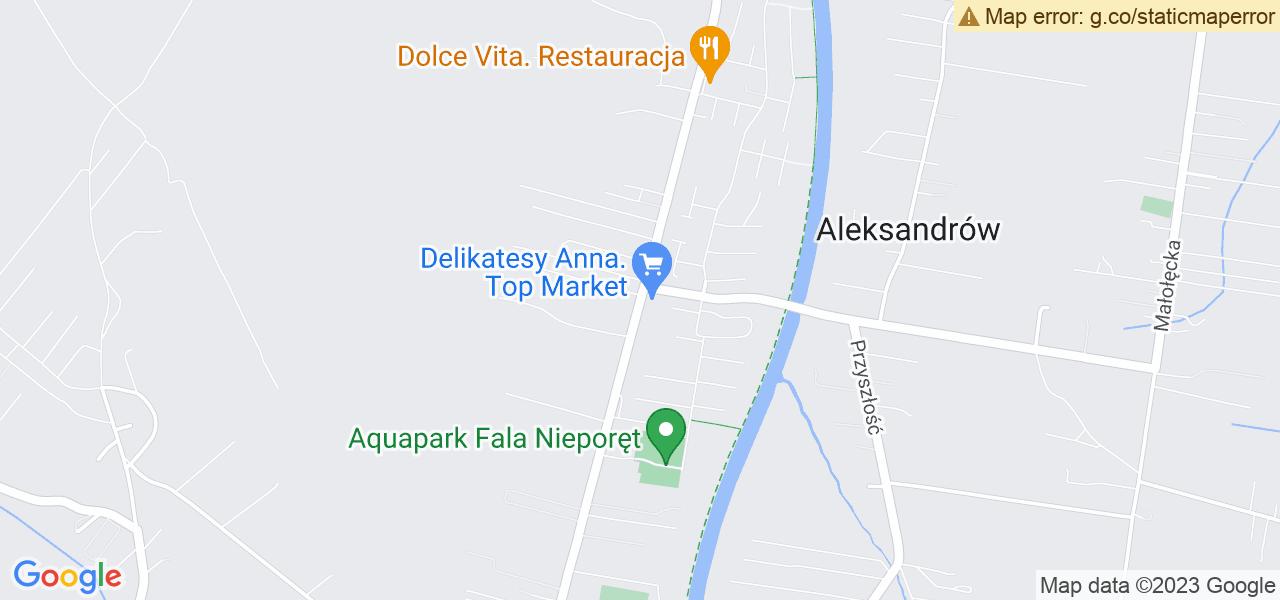 Jedna z ulic w Stanisławowie Pierwszym – Jana Kazimierza i mapa dostępnych punktów wysyłki uszkodzonej turbiny do autoryzowanego serwisu regeneracji