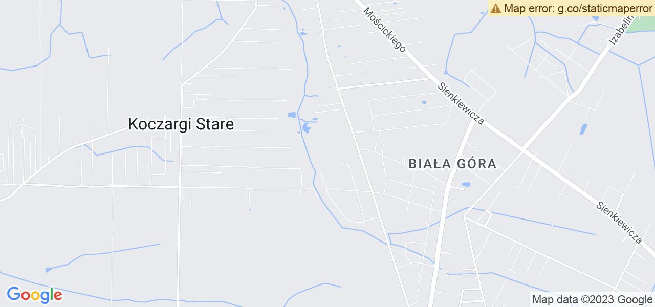 Jedna z ulic w Starych Babicach – Henryka Sienkiewicza i mapa dostępnych punktów wysyłki uszkodzonej turbiny do autoryzowanego serwisu regeneracji