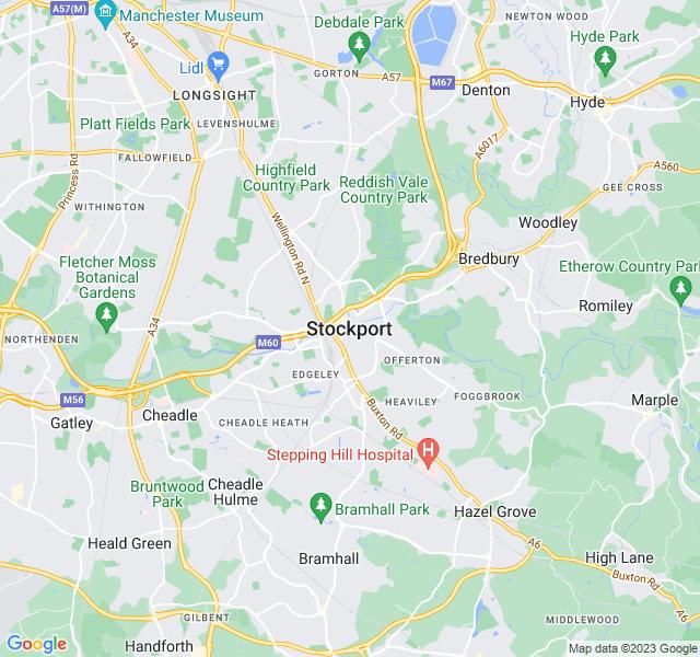 Website Designer Stockport Google map of location