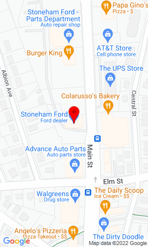Google Map of Stoneham Ford 211 Main Street, Stoneham, MA, 02180