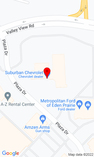 Google Map of Suburban Chevrolet 12475 Plaza Drive, Eden Prairie, MN, 55344