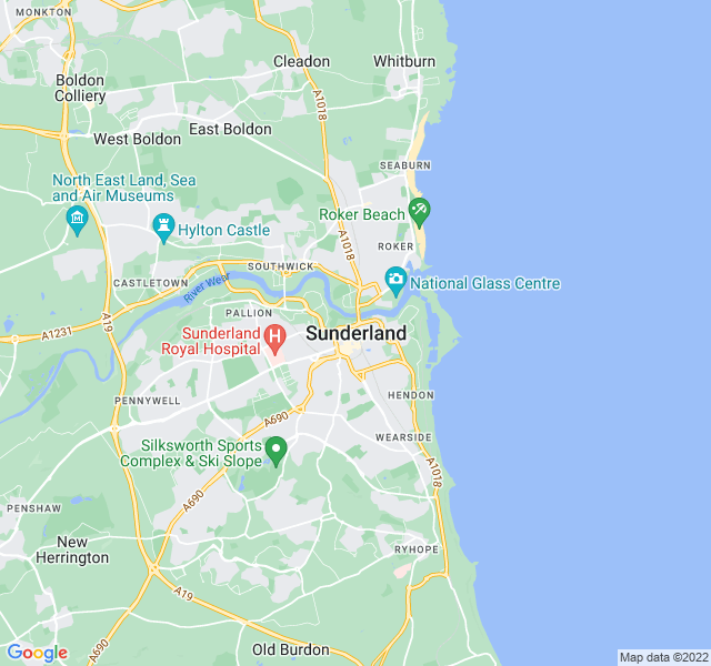 Website Designer Sunderland Google map of location