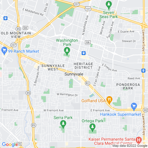 Map of Sunnyvale, CA