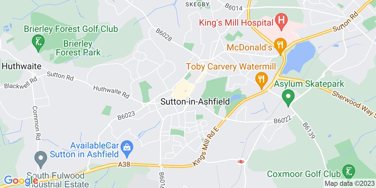 Map: HGV 1 Driver job role in Sutton-in-Ashfield