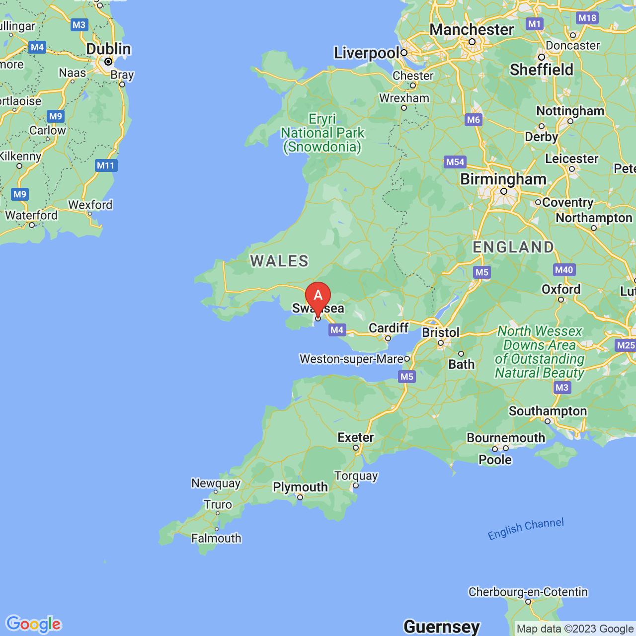 Swansea, Wales Map