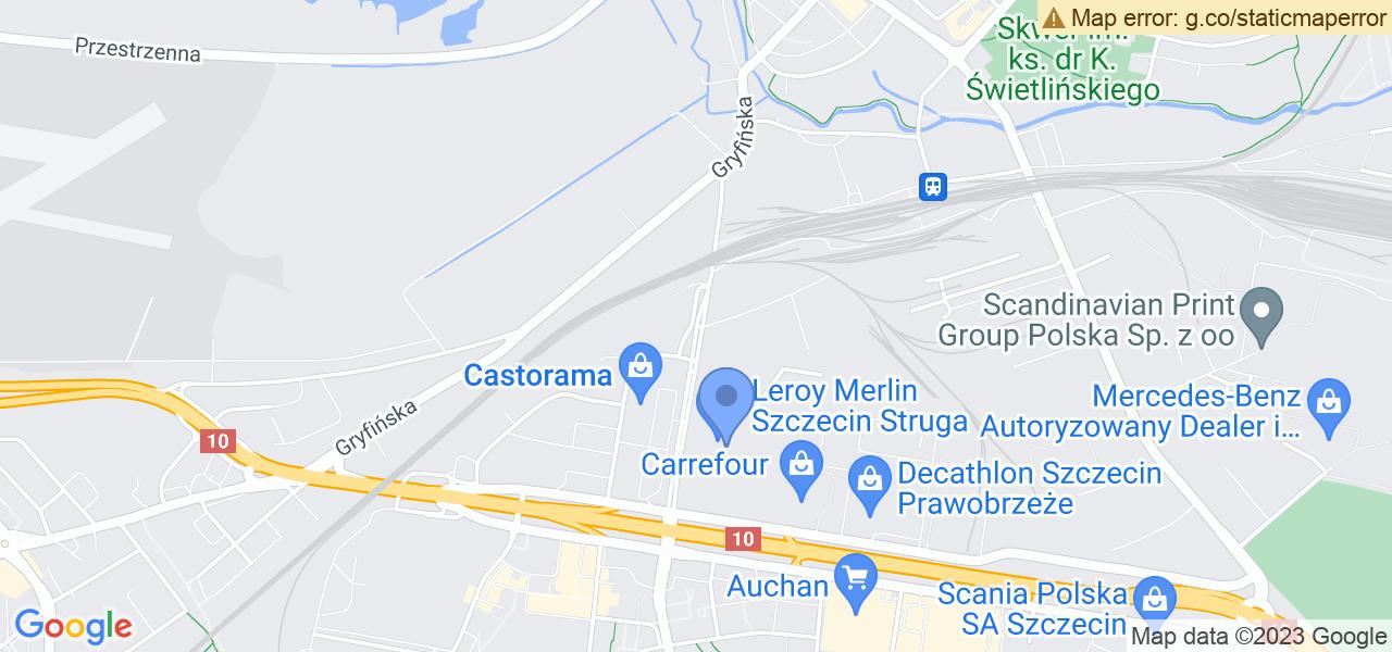 Jedna z ulic w Szczecinie – Wiosenna i mapa dostępnych punktów wysyłki uszkodzonej turbiny do autoryzowanego serwisu regeneracji