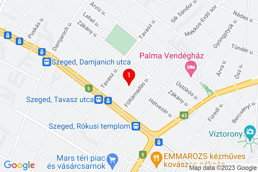 Google Map of Szeged, Hétvezér utca 26/B.