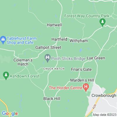 Cotchford Farm and surrounding woodland Location