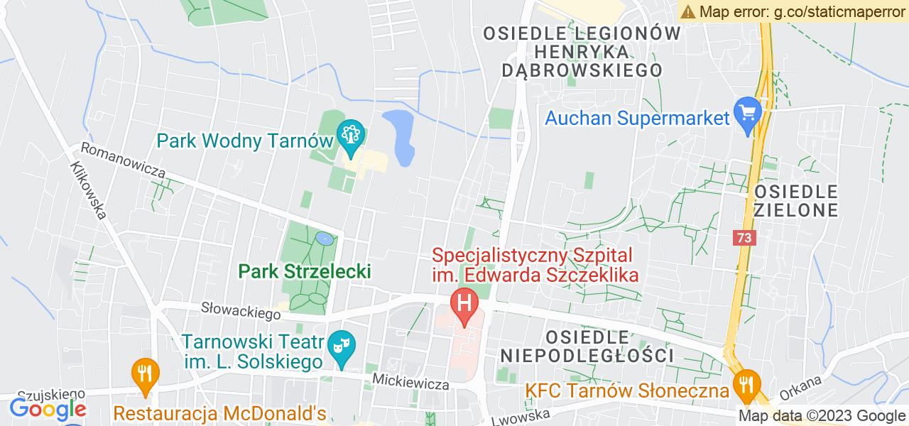Jedna z ulic w Tarnowie – Aleja Matki Bożej Fatimskiej i mapa dostępnych punktów wysyłki uszkodzonej turbiny do autoryzowanego serwisu regeneracji
