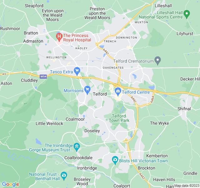 Website Designer Telford Google map of location