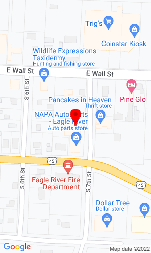 Google Map of The Car Shop 224 South 7th, Eagle River, WI, 54521