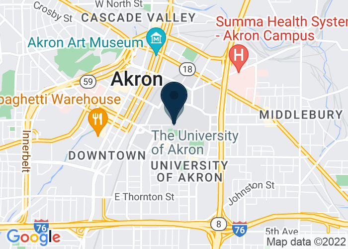 Map of The University of Akron, Akron, OH 44325, United States