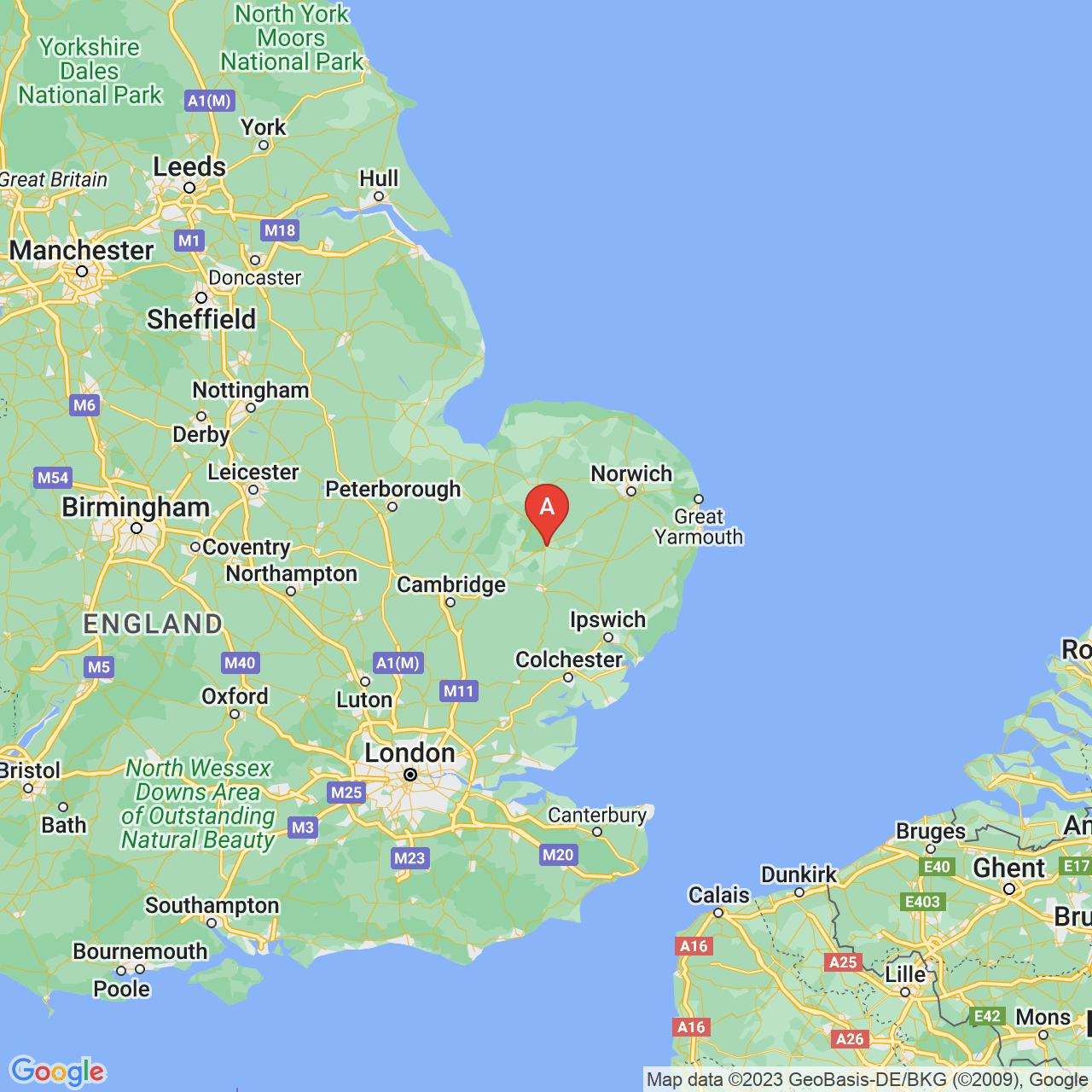 Thetford, England Map